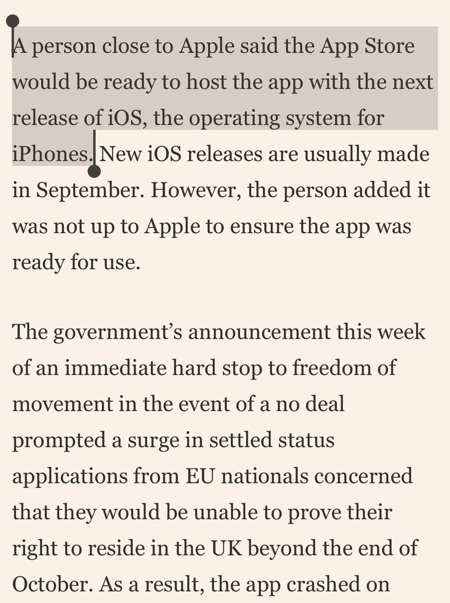 I don't why a person close to Apple is needed to confirm this. iOS 13 will dramatically upgrade NFC core allowing passports to be read and written to.  EU citizens with iPhones left in limbo over Brexit residency application https://t.co/Sxz6w4wiWJ https://t.co/ZUDM1sYMtm