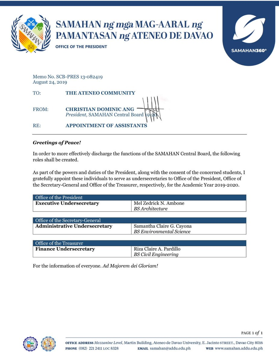 READ | Memorandum No. SCB-PRES 13-082419 re: Appointment of Assistants Welcome to SAMAHAN and AMDG! #SAMAHAN360