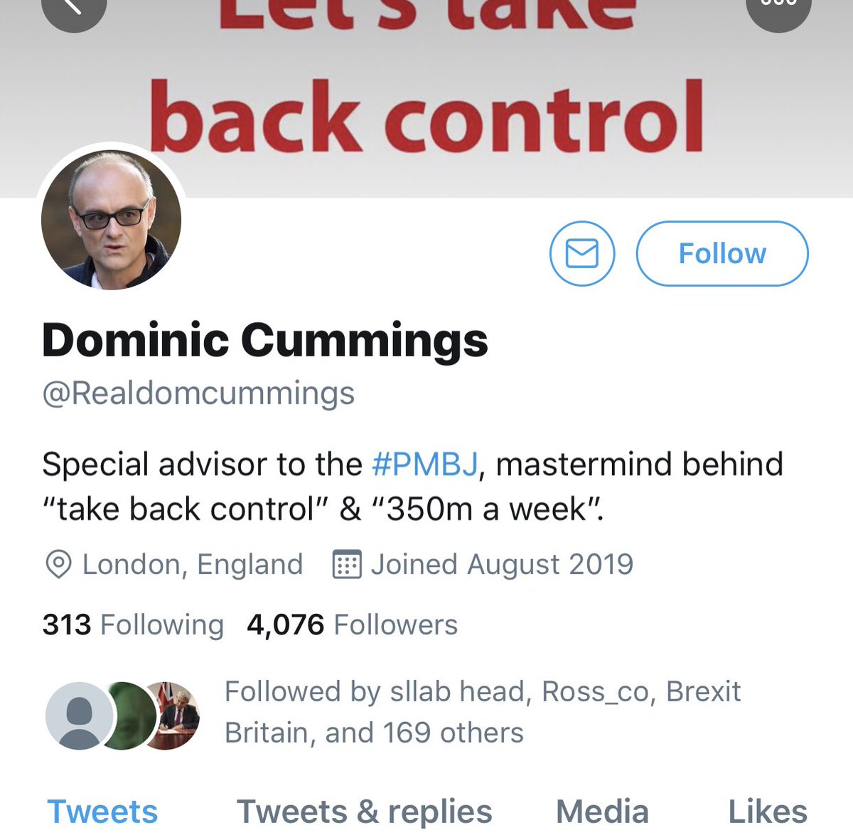 @Realdomcummings is a fake account run by FBPE @migthewelshman who is also @Brexitloon it's gained 4000 followers in under 24hr & could reach 100k by Monday! Dominic Cummings has already confirmed he has no twitter account which prompted me to investigate who was behind it!