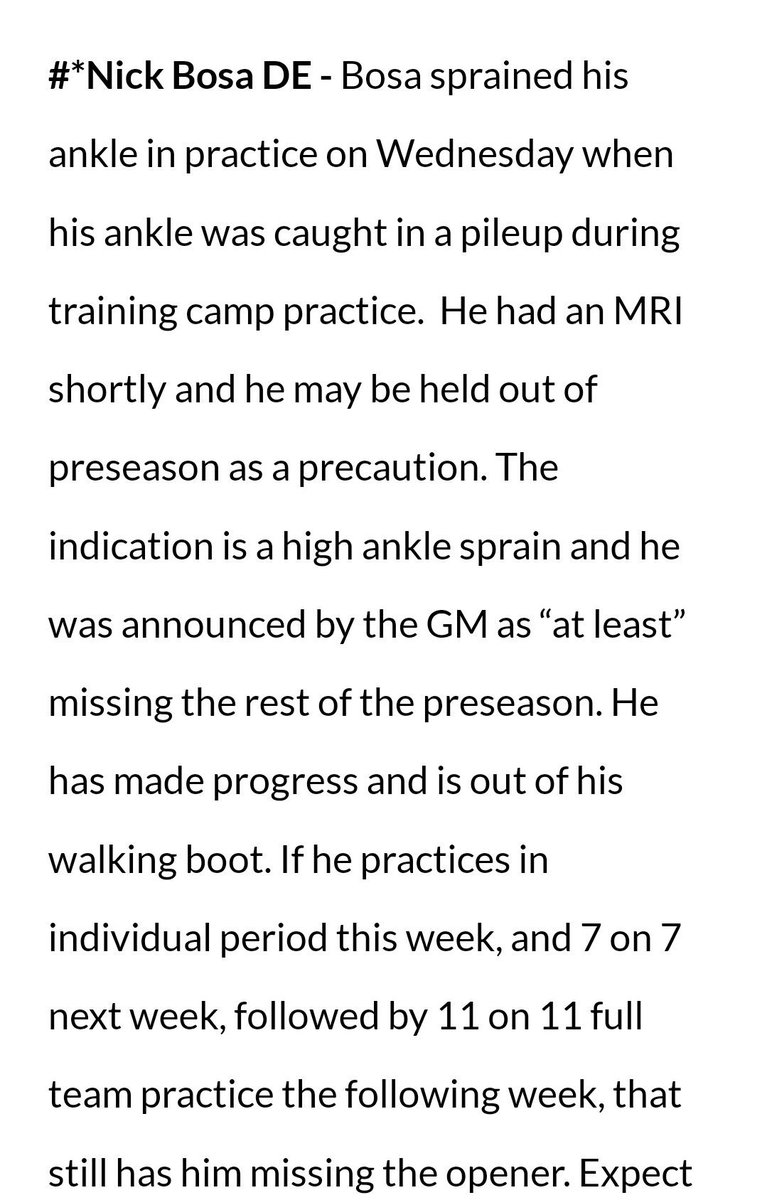 Hate to be the bearer of bad news but @ProFootballDoc doesn't expect Nick Bosa to be ready for week one.. https://t.co/v6ctAiDWYe