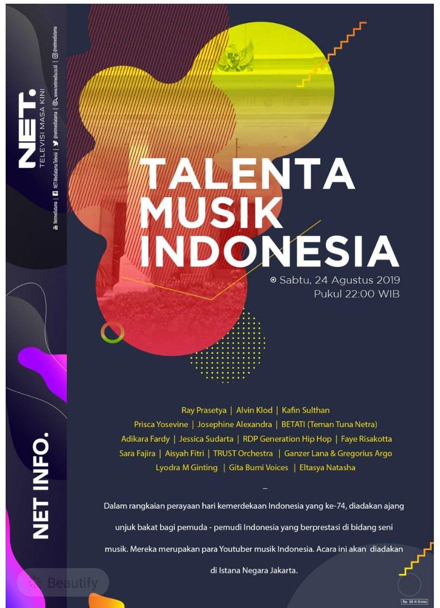 Oona Tv Indonesia V Twitter Untuk Indonesia Netmediatama Menyelenggarakan Talenta Musik Indonesia Sebagai Sarana Unjuk Bakat Bagi Para Pemuda Dan Pemudi Di Hari Kemerdekaan Indonesia Yang Ke 74 Saksikan Kemeriahan Acara