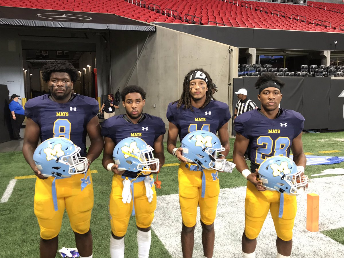 The Mercedes Benz Stadium @MBStadium is being painted Blue and Gold. The mighty Mays High Raiders are ready. @DrWilkinsBEMHS @CarstarphenMJ @MaysAthletics @1APS_Athletics https://t.co/Om0f0bx0jB