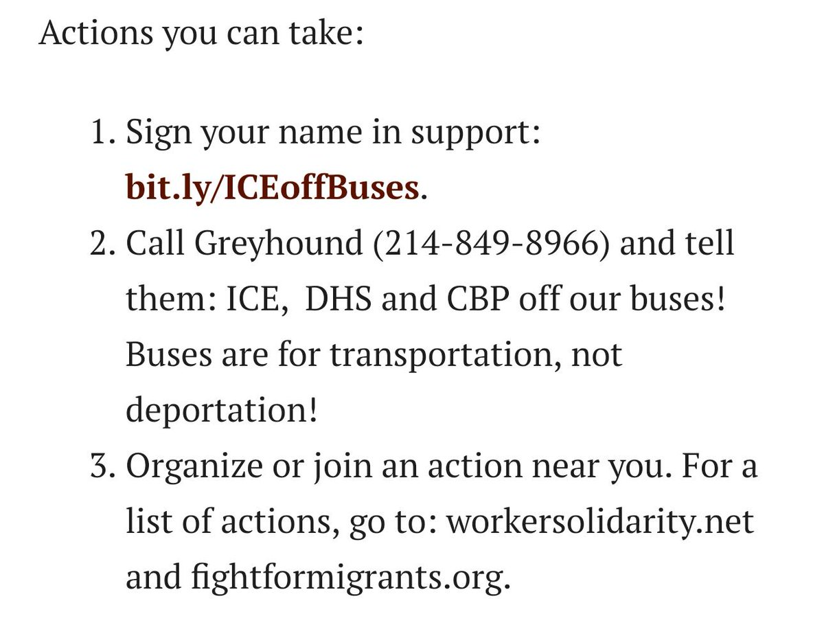 If you want to prevent warrantless #ICERaids on @GreyhoundBus, PLEASE take 2 mins to CALL GREYHOUND and tell them to stop conspiring w/ICE to harass entire busloads of poor, mostly non-white folx in the hopes they'll find one undocumented person.   https:// bit.ly/ICEoffBuses    <br>http://pic.twitter.com/mbi1amsNLf