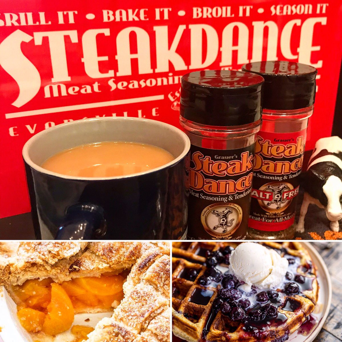 Good morning everyone and welcome to the weekend, what are you going to the steak dance today? It's also national peach pie and waffles day. Hope you have a great weekend. #PeachPie #Waffles #Breakfast #Coffee #SteakDance #Grill #Bake #Broil #Season #SteakDanceFamily https://t.co/lctRBMdy3b
