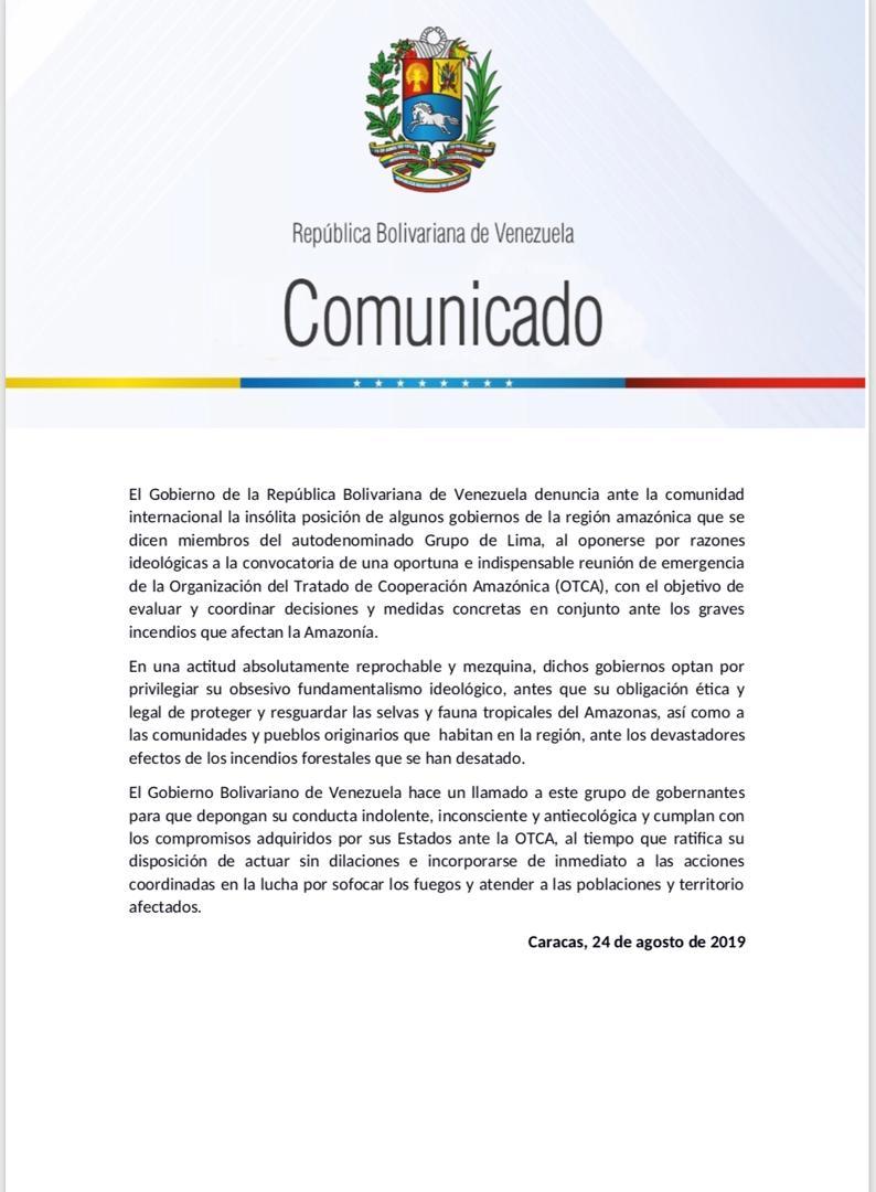 #COMUNICADO| Venezuela denuncia la insólita posición de algunos gobiernos de la región amazónica que se dicen parte del Grupo de Lima, al oponerse por razones ideológicas a la convocatoria de una reunión de emergencia de la OTCA ante los incendios de la Amazonía. Debemos actuar!