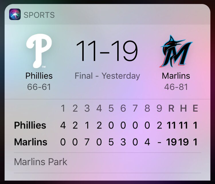 The Phillies lose to the Marlins 19-11.  To add some perspective, here's the final scores from the most recently games played at the Little League World Series..  @rickybottalico @Phillies @NBCSPhilly @JClarkNBCS @SportsRadioWIP #Phillies #littleleagueworldseries @LittleLeague https://t.co/ffKOhsU583