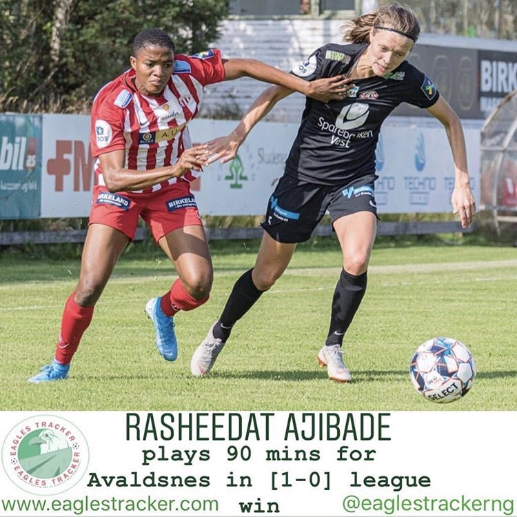 Super Falcons forward, Rasheedat Ajibade @Rasheedat08 played in #avaldsnes  [1-0] win over #roa in the #norway #toppserien #women ————— More on  http:// eaglestracker.com     Link in bio ————— #eaglestracker #supereagles #SoarSuperEagles #superfalcons #rasheedatajibade <br>http://pic.twitter.com/YE9WFlYw6x