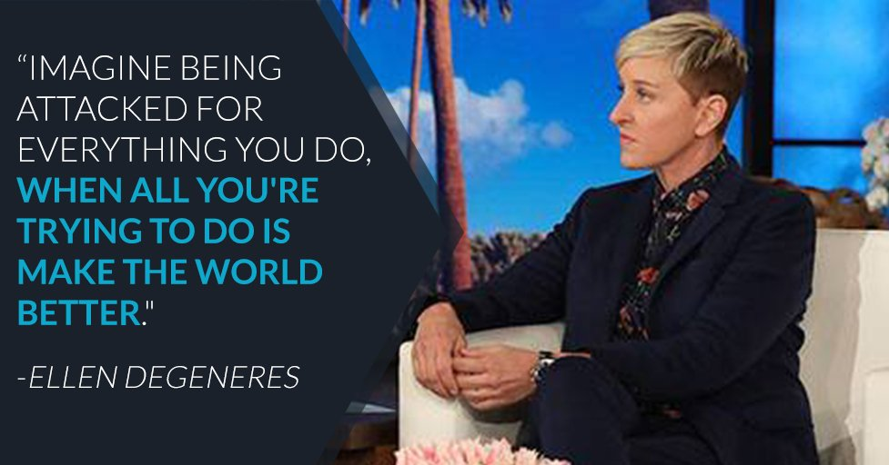 RT @enews: Ellen is out here practicing what she preaches: Be kind to one another. https://t.co/AmBXygR8JM https://t.co/JPhebh9Da5