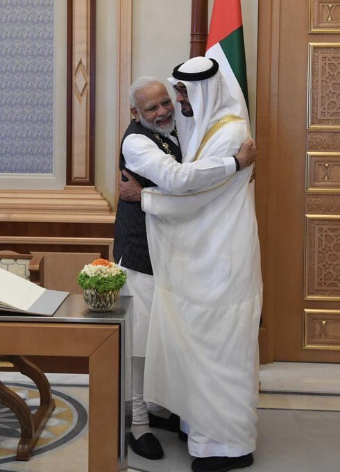 Muslim country #UAE has given the highest civilian award to Indian PM #Modi.   Yet another reminder that #Muslim #Ummah is a myth that was used as a tool by #Pakistani rulers to mislead the people and justify policies that were not in the interest of the people.<br>http://pic.twitter.com/hwGWzsBpol