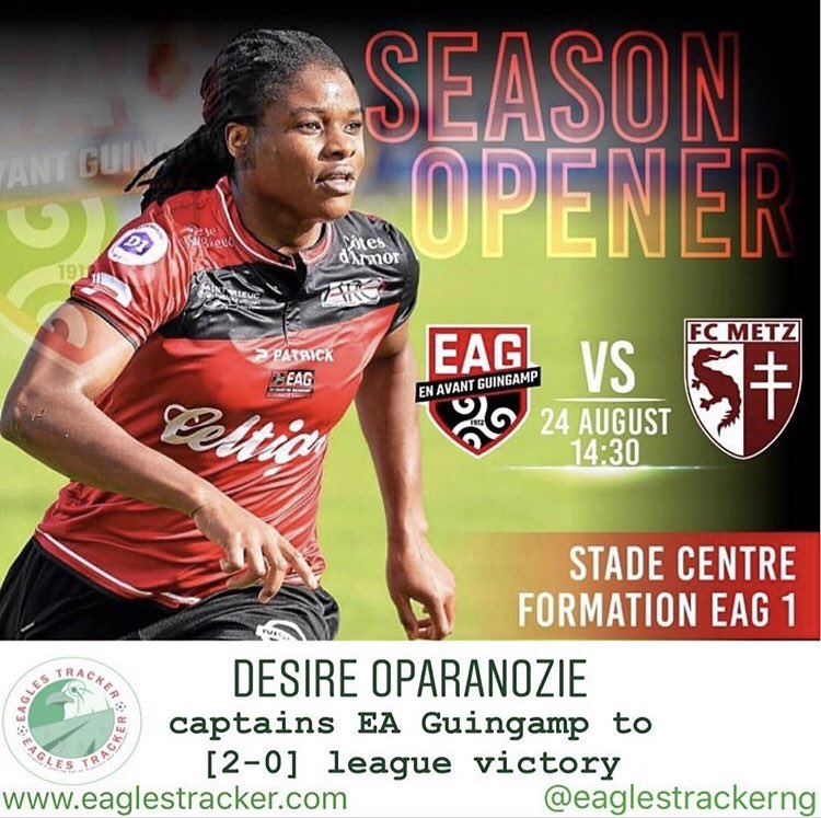 Super Falcons #Captain, Desire Oparanozie @oparanozie9 started today and led #eaguingamp @EAGuingamp to a [2-0] win vs #metz in the #france #womens #division 1 ————— More on  http:// eaglestracker.com     Link in bio ————— #eaglestracker #supereagles #superfalcons #desireoparanozie <br>http://pic.twitter.com/3wkS5AZTRF