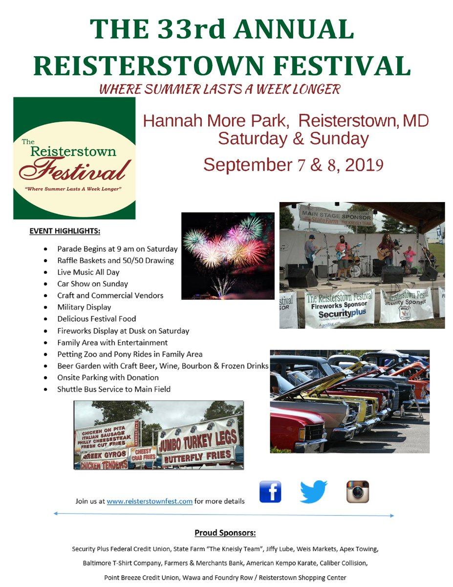The Reisterstown Festival (@ReistersFest) on Twitter photo 24/08/2019 15:41:24