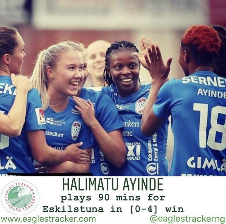 Super Falcons duo, Ngozi Okobi @NgoziOkobi & Halimatu Ayinde teamed up in #eskilstuna [0-4] league win over #kungsbacka in the #sweden #obos #damallsvenskan ——— More on  http:// eaglestracker.com     Link in bio ——— #eaglestracker #supereagles #superfalcons #SoarSuperEagles <br>http://pic.twitter.com/SZvOkHV3KR