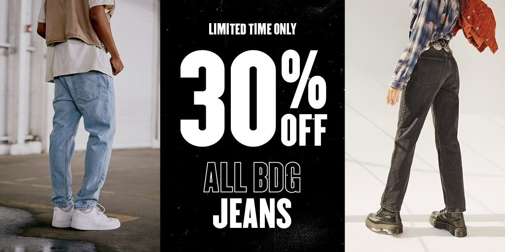 ⚠️ LAST CHANCE: 30% off BDG denim ends TODAY ⚠️ shop womens: bddy.me/2TZpKOJ shop mens: bddy.me/2TZpMpP