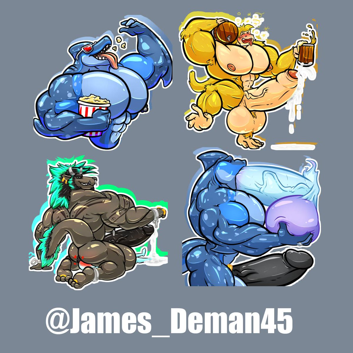 Forgot to post this D:   Finished sticker pack for @James_Deman45 of a few of his big fellas being lewd~ (mostly)<br>http://pic.twitter.com/5kyl6wJtHt