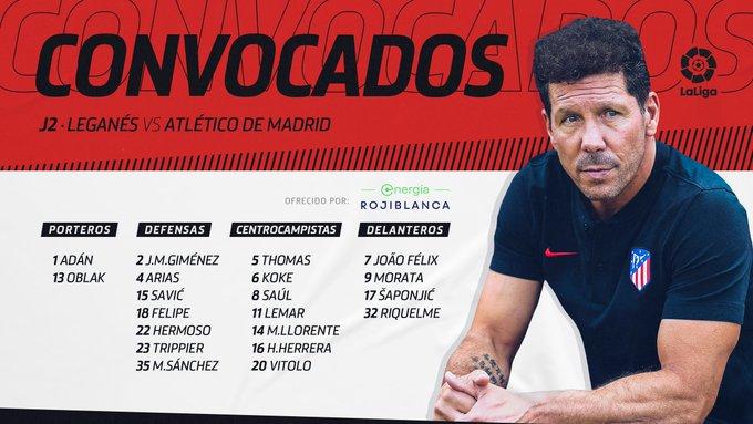 La convocatoria del Atlético de Madrid.