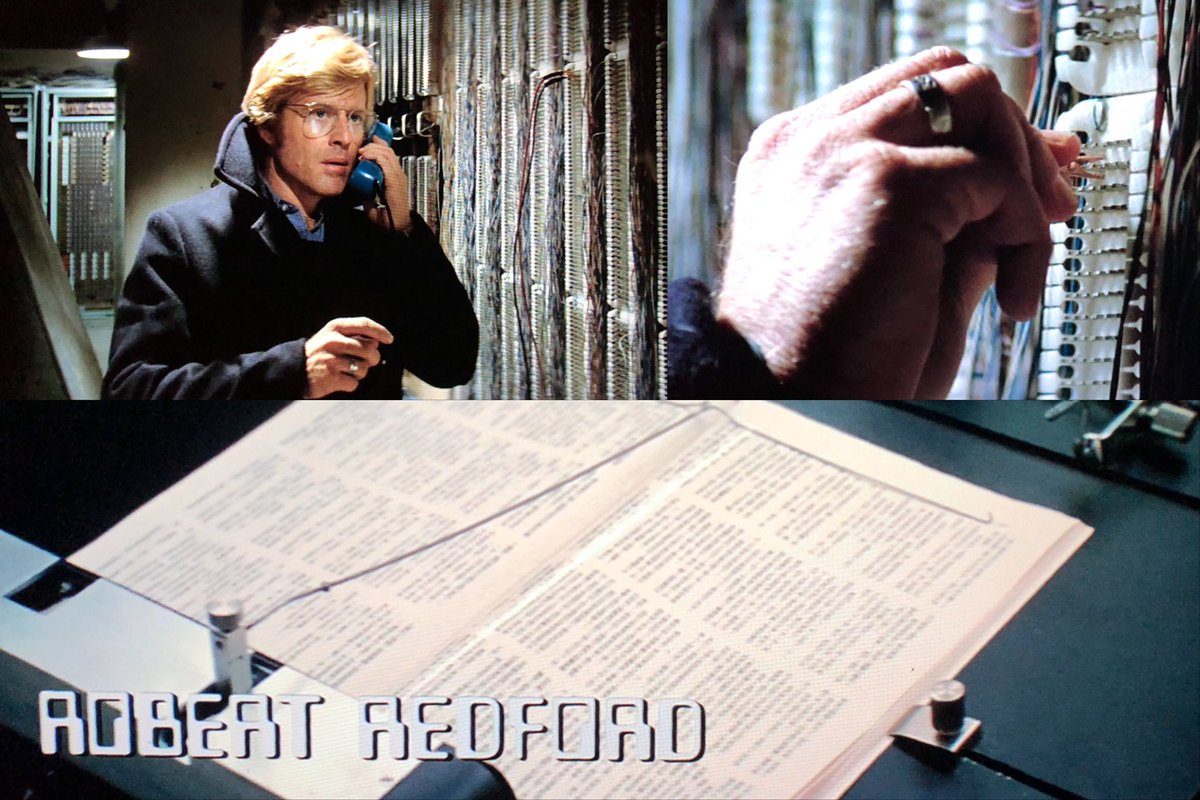 The best part of #ThreeDaysOfTheCondor (apart from Robert Redford's popped collar), is the ancient tech shown during the opening credits. Feel the excitement of mechanical page-turning! And scanning! Plus physical phone tapping! https://t.co/9EziUkD5EN