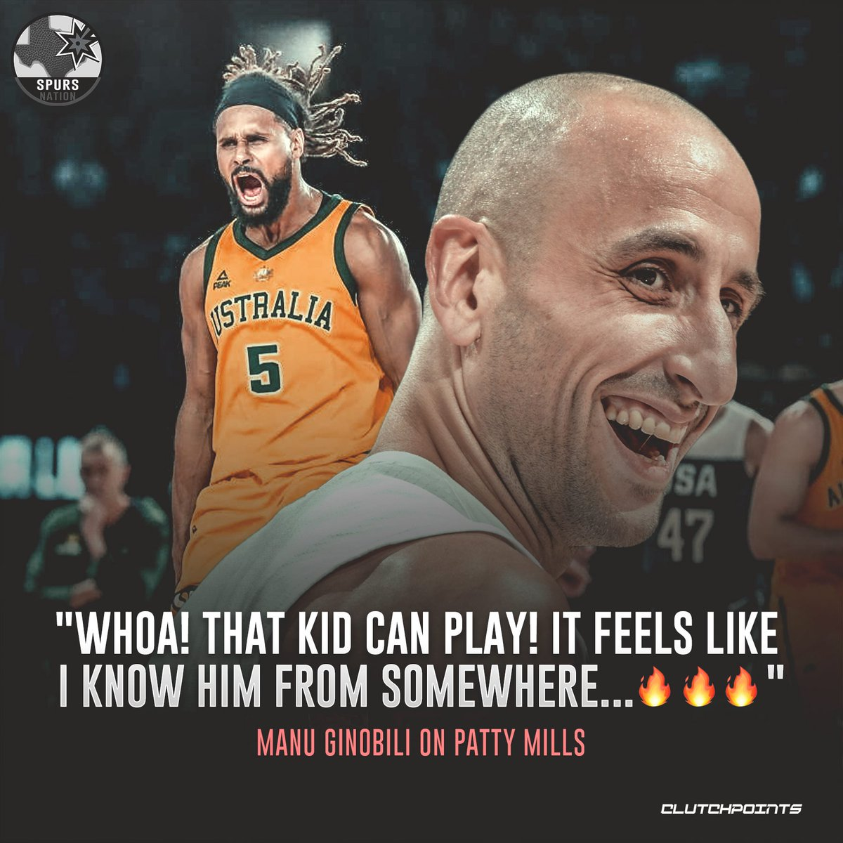 Manu Ginobili was flat out impressed with Patty Mills' performance against team USA   #Spurs #GoSpursGo <br>http://pic.twitter.com/jgCZn6WOZc