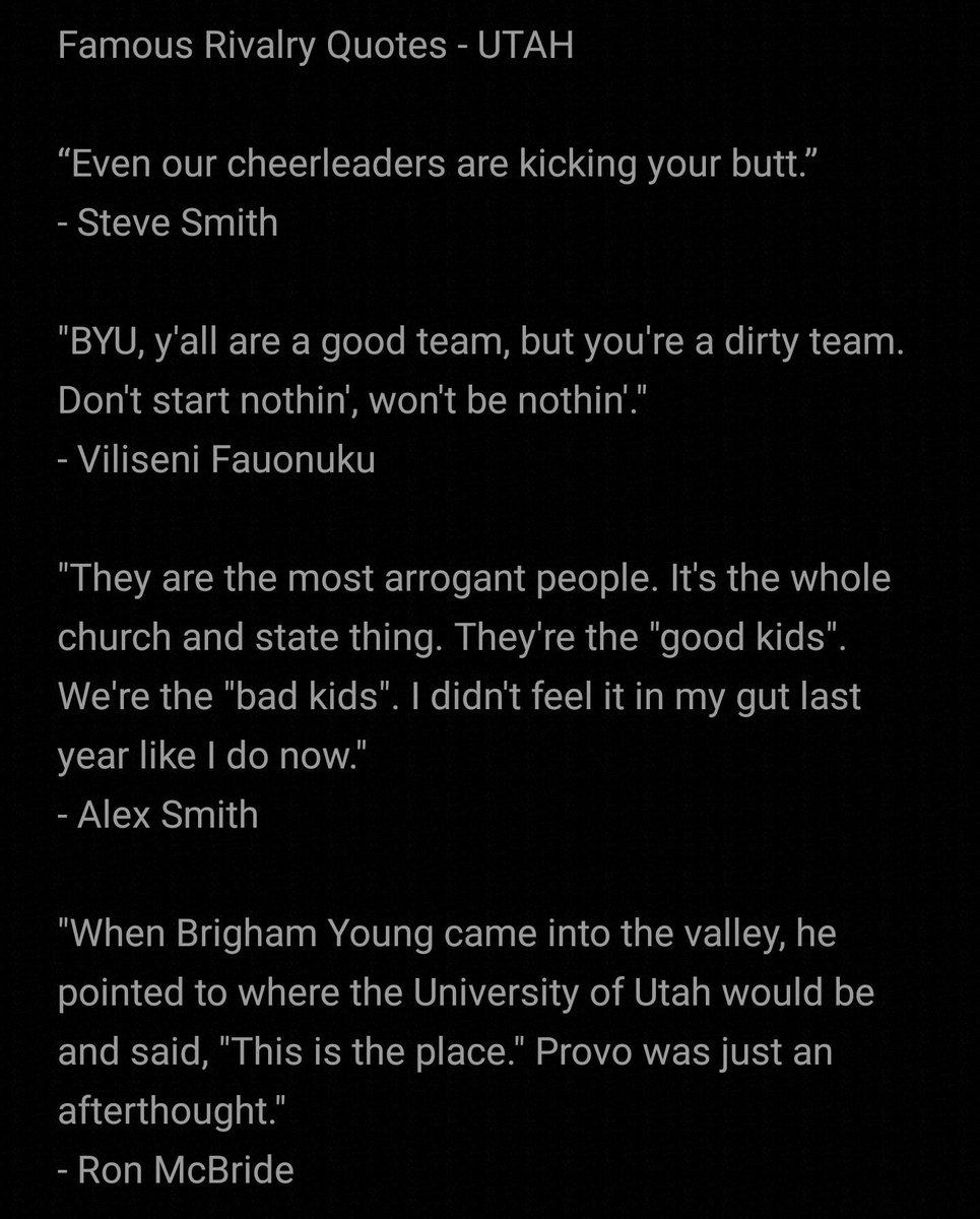 5 days until kickoff! Famous rivalry quotes Which is your favorite? #holywar #byu #utah #BYUFootball #UtahFootball @Utah_Football @BYUfootball @TheMUSS @byuROC https://t.co/coBJF46Tul