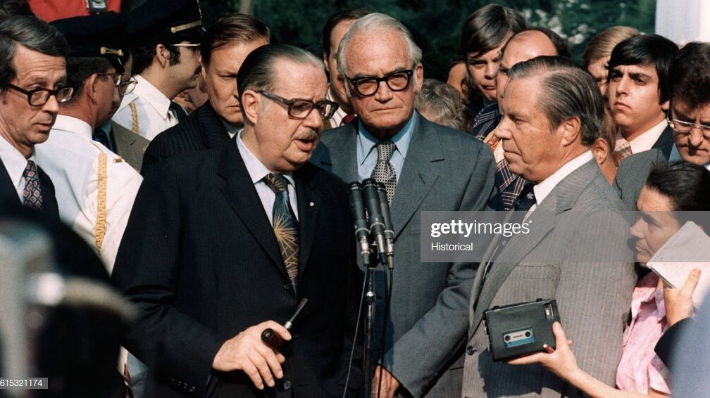 16 yrs. ago today, Former Congressman John Rhodes (at r.) passed away.   A conservative Republican & House minority leader, he met with Sens. Hugh Scott & Barry Goldwater on Aug. 7, 1974 at the WH & told Nixon he needed to go. He put country above party. Nixon resigned Aug. 9th.<br>http://pic.twitter.com/v14f7jPiJa