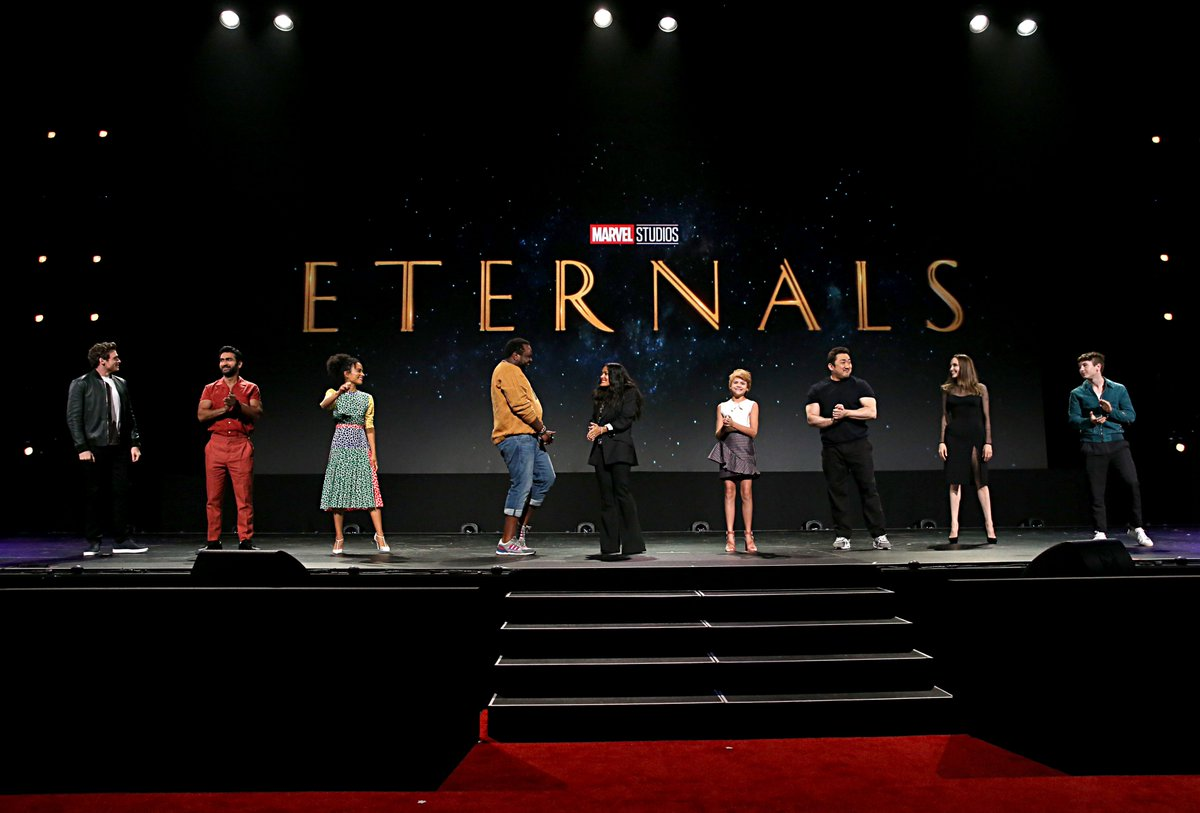Take a look at the incredible cast of Marvel Studios' THE ETERNALS, on stage at the #D23Expo (1/2)
