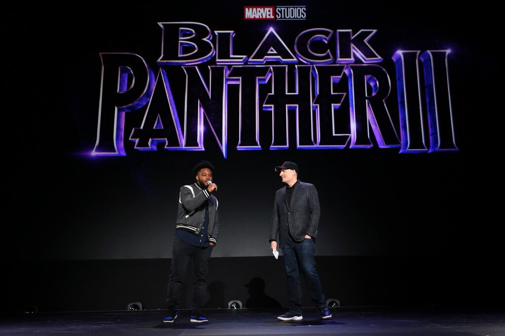 """Another look at director Ryan Coogler as he announces the release date of Marvel Studios' """"Black Panther 2"""" at #D23Expo."""