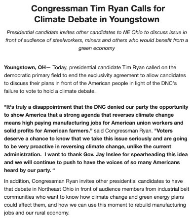 The DNC got it wrong. We need a climate debate. Let's have one in Youngstown. My statement: