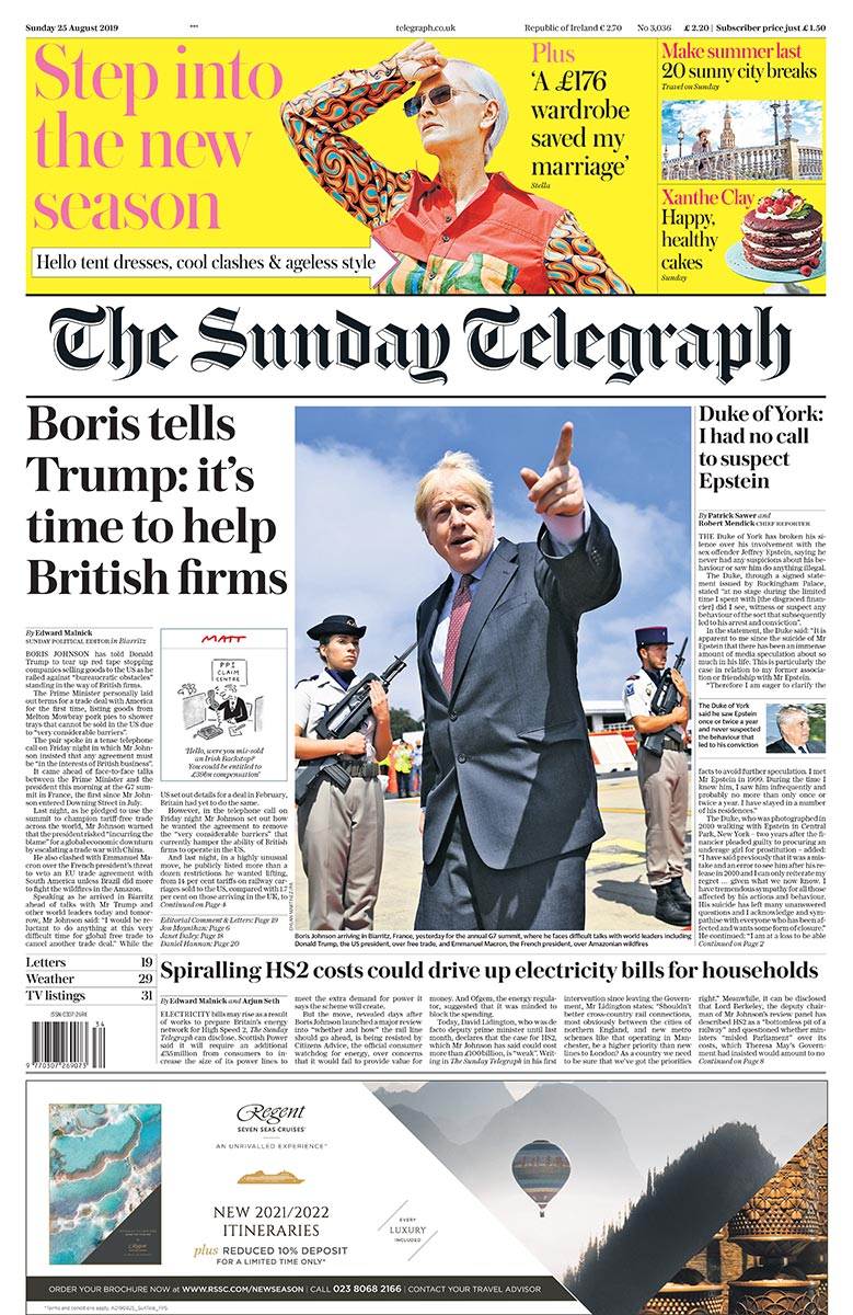 Sunday Telegraph front page - 'Boris tells Trump: it's time to help British firms' #tomorrowspaperstoday  Telegraph August 24, 2019 at 10:53PM