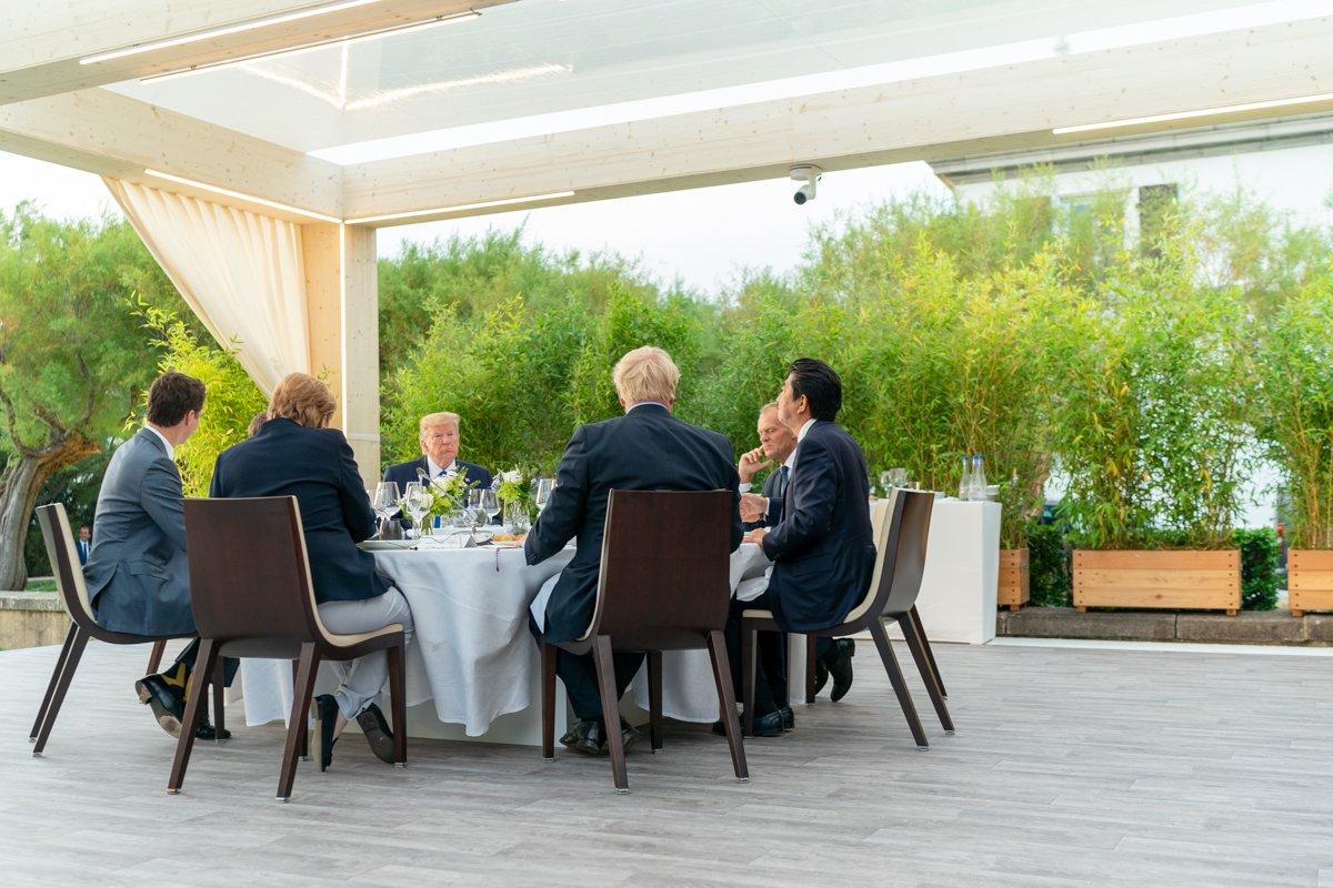 President Trump met G7 leaders for dinner at the Biarritz Lighthouse in France. #G7Biarritz