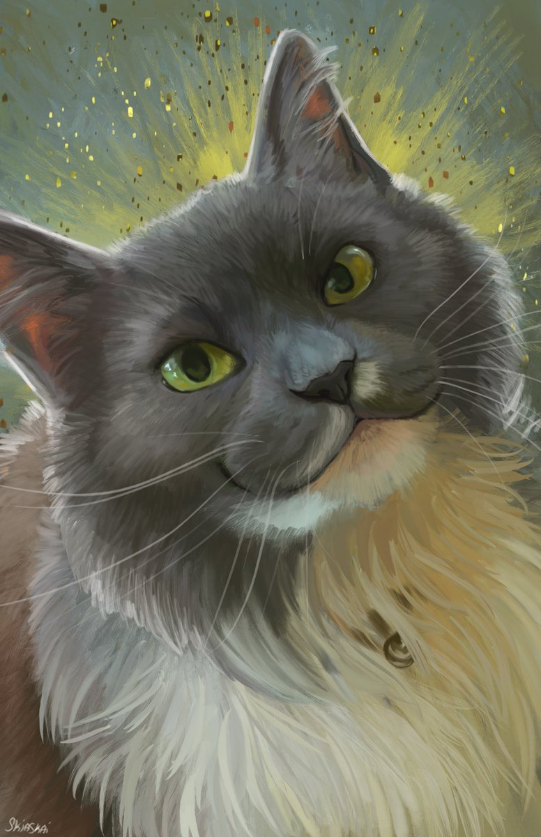 Pet portrait for CreativeShiba in memoriam of their lovely cat, Amy  <br>http://pic.twitter.com/q8l5V06UeH