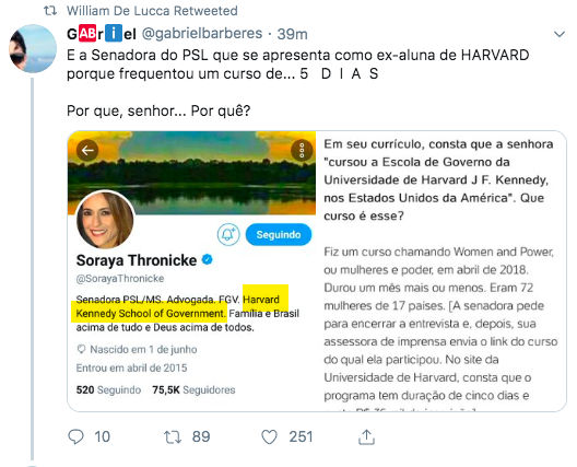 """So funny (and illustrative): the Bolsonaro Senator I referred to in the above tweet - about how the world's """"greatest danger is Journo-NAZIS""""- deleted her tweet, but her bio reads: """"Harvard Kennedy School of Government."""" Journalists discovered: she did a 5 *day* course there. LOL <br>http://pic.twitter.com/Z6QR0nddOk"""