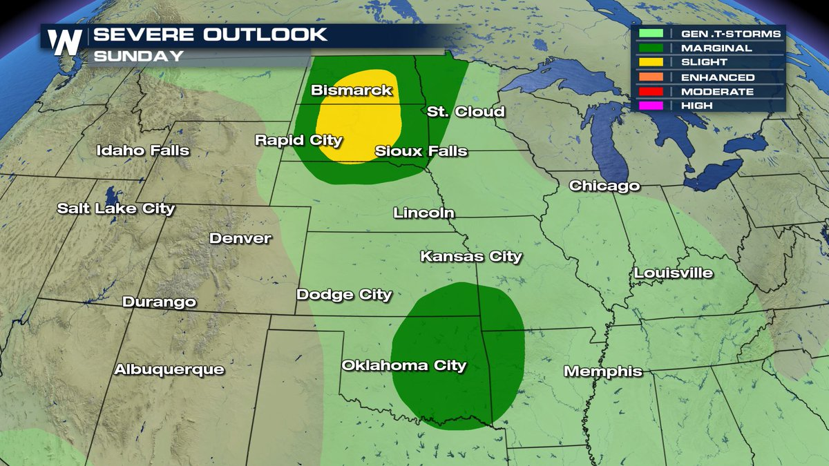 Severe weather risks will continue on Sunday and Monday.  On Sunday, strong storms will be possible in Oklahoma and up through the Dakotas.  On Monday, strong storms are likely from Oklahoma to Wisconsin. https://t.co/cG4pPdYcVE