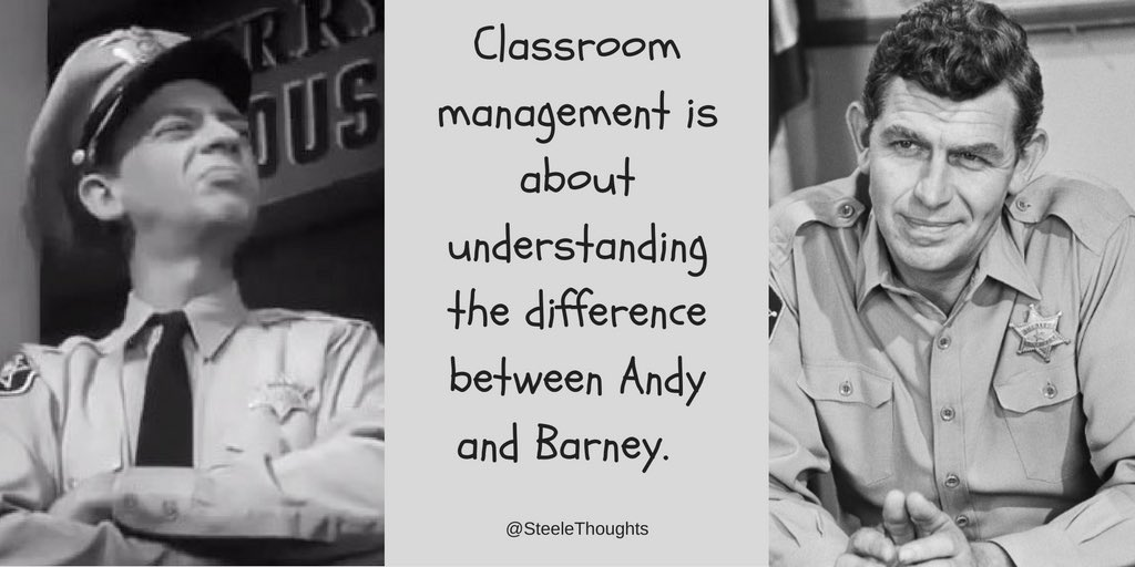 RT @SteeleThoughts: Sometimes... classroom management is about understanding the difference between Andy and Barney. https://t.co/6kX3HuJLOz