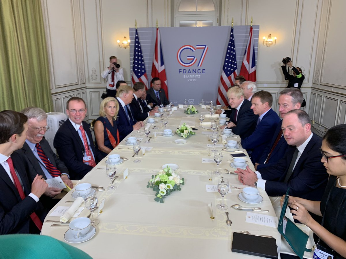 "Who's 1st leader POTUS chose to sit with for bilat here at #G7 in Biarritz? UK's new prime minister Boris Johnson. ""He needs no advice"" on Brexit, Trump told us. ""He's the right man for the job. I've been saying that for a long time. It didn't make your predecessor very happy."""