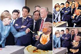 And after dinner, serious talks began at the G7 summit.