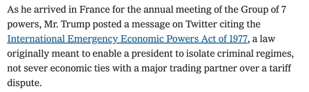 .@nytimes fulminates over Trumps invocation of national emergency to target China under the International Emergency Economic Powers Act. @nytimes doesnt complain when US uses law to punish poor countries such as Venezuela, Congo, Somalia or Syria. nytimes.com/2019/08/24/wor…