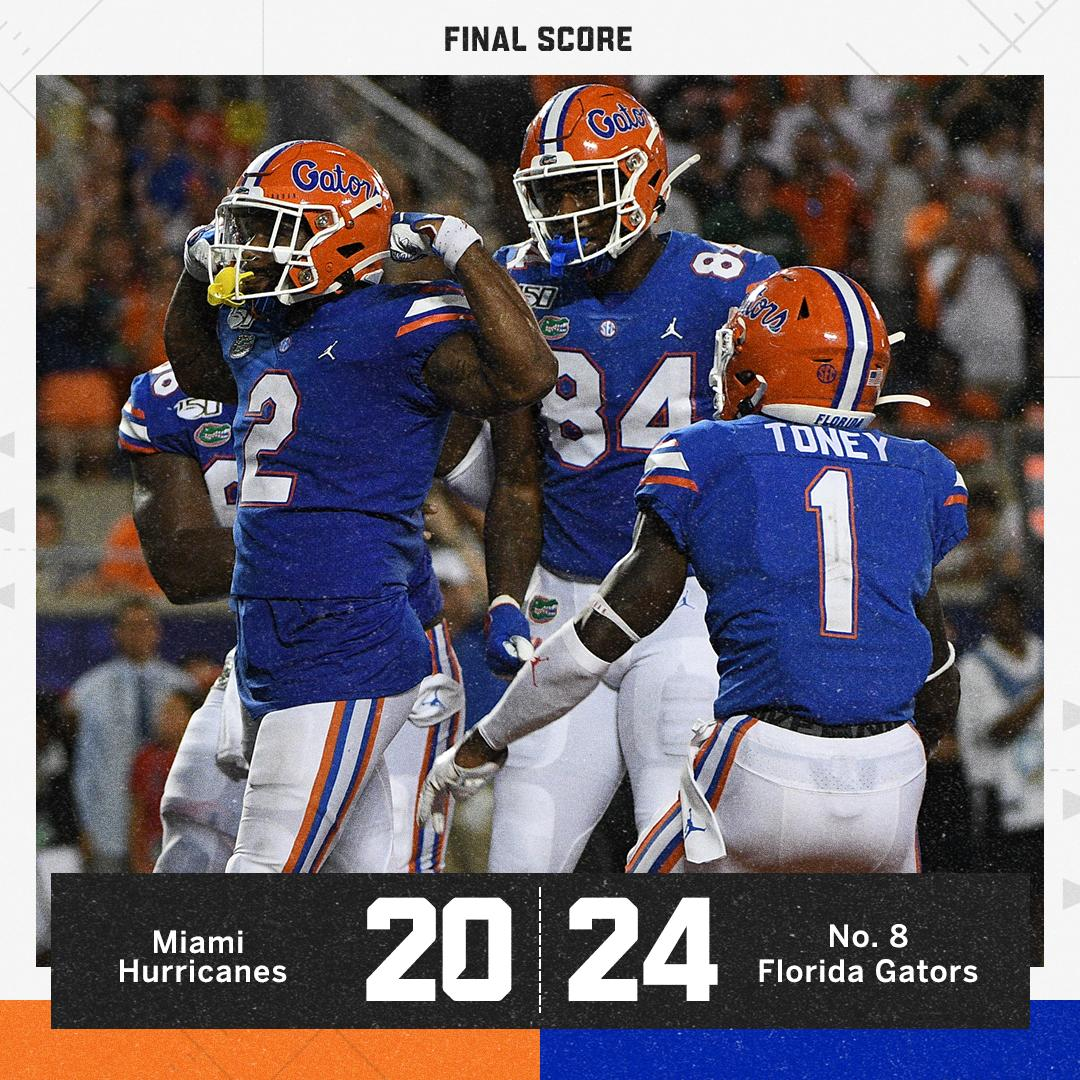 THE GATORS HOLD ON! No. 8 Florida beats Miami for its first win of the season 🐊