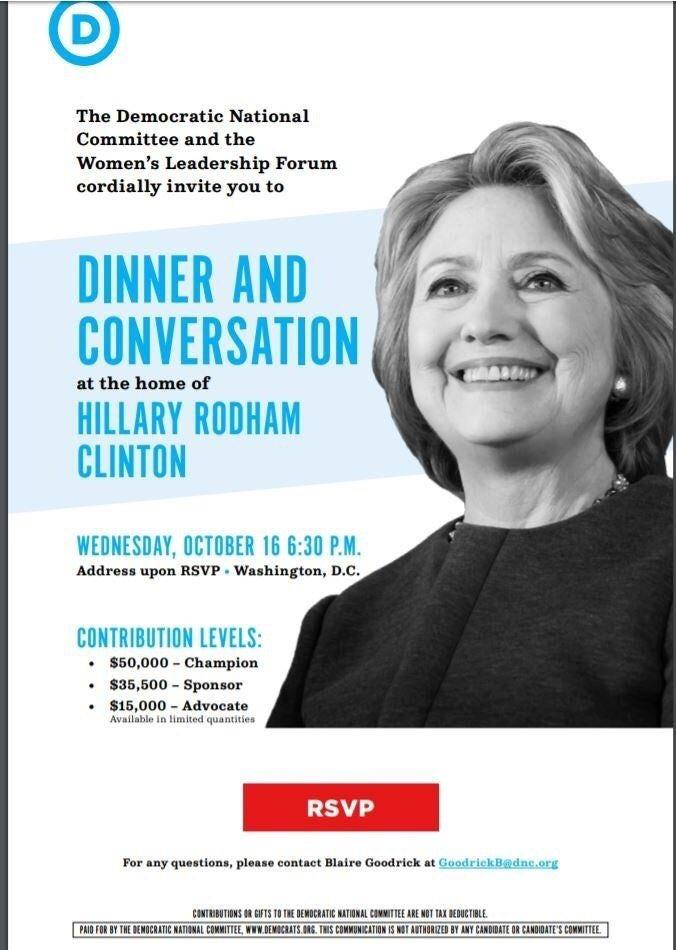 DNC is hosting a fundraiser in October with Hillary Clinton Rematch in the works?