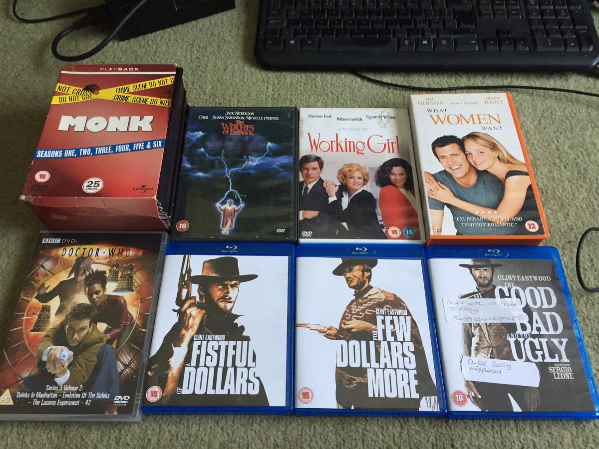 What I got from car boot. Doctor who disc is to replace the error in my series 3 disc. The Clint Eastwood is to have it back on blu-Ray. What women want I got the vhs then saw the dvd I was not going to double dip on same day. Monk as 2 discs which are the same. Sadly. https://t.co/Cf9fk9jJFE