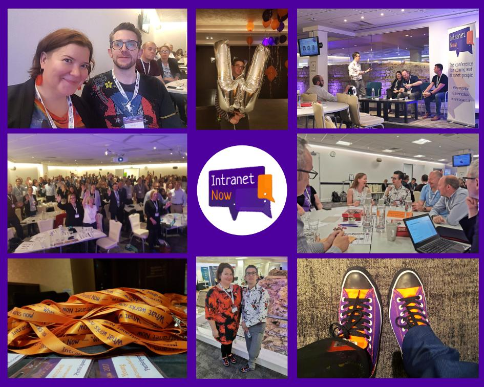 Montage showing lots of people enjoying themselves at a conference, with personal pictures of purple and orange converse, orange and purple lanyards and a man holding a shiny W ballon