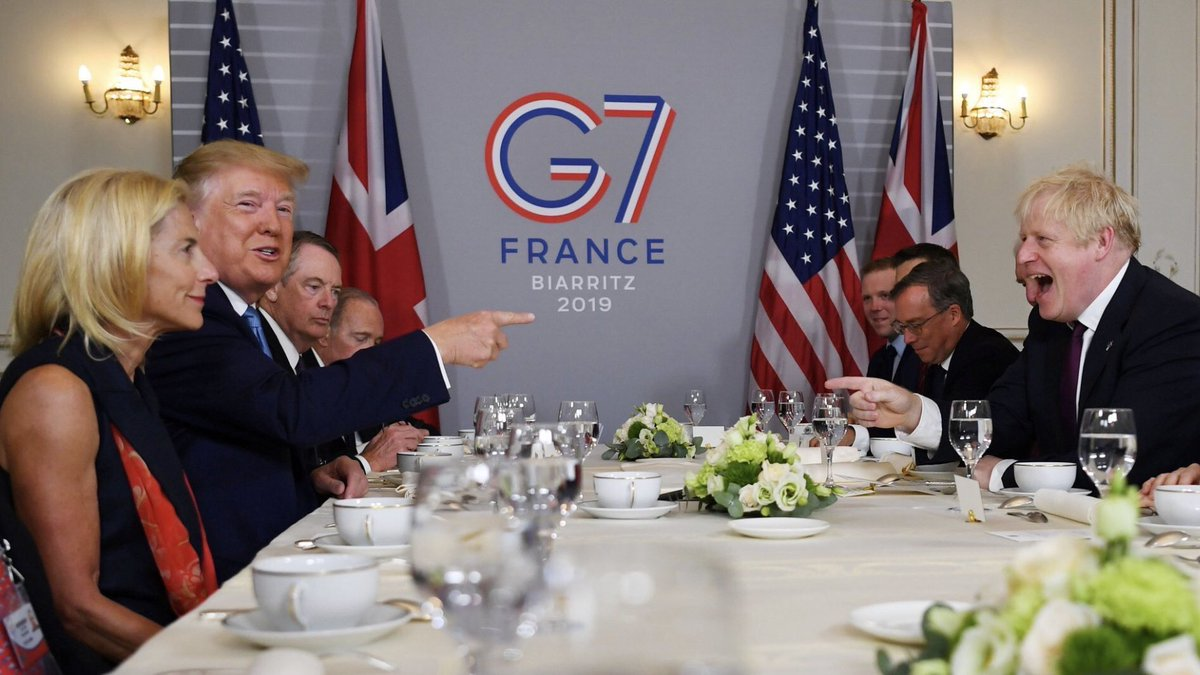 First picture of Boris Johnson meeting President Trump. Provide your own caption.