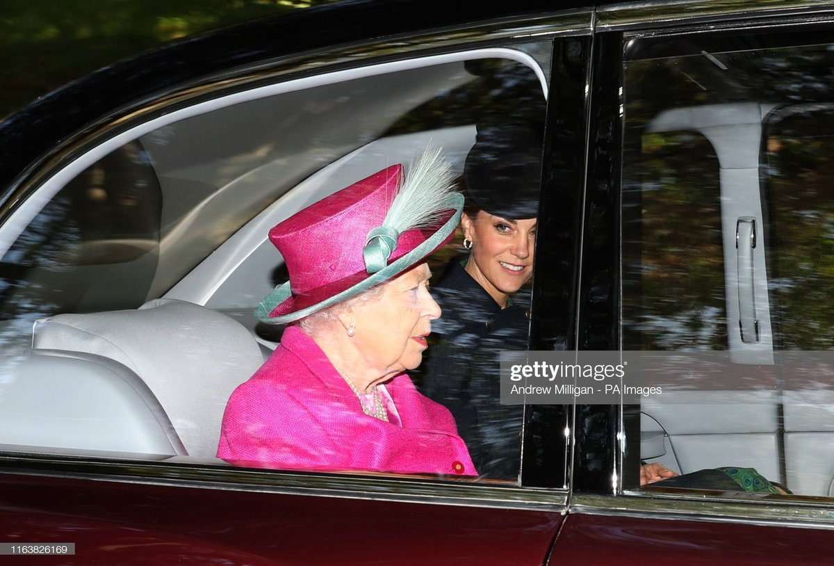 #royal Aug 25, 2019 - Queen Elizabeth II alongside the Duke and Duchess of Cambridge arrive at Crathie Kirk for the Sunday church service near Balmoral