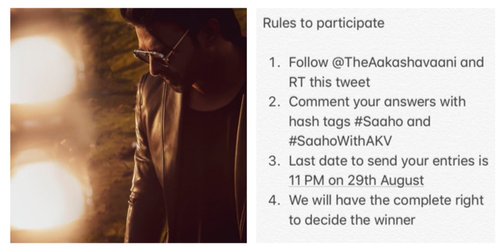#SaahoWithAKV Contest : Answer and stand a chance to win ₹1000. Two winners will get ₹1000 cash each   How many movies prabhas did until #Saaho ?  Which music director provided BGM for Saaho?  What is Saaho director's first movie?  Rules to participate as below..<br>http://pic.twitter.com/jdfaSSb87T