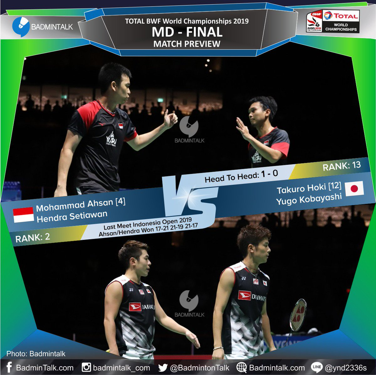 And the LAST FINAL of the day: Men's DoublesThe pair who created the biggest upset in this discipline vs the history maker.Mohammad Ahsan/Hendra Setiawan (INA/4) vs Takuro Hoki/Yugo Kobayashi (JPN/12)Rank: 2-13H2H: 1-0Last meet: Indonesia Open 2019#BWC2019