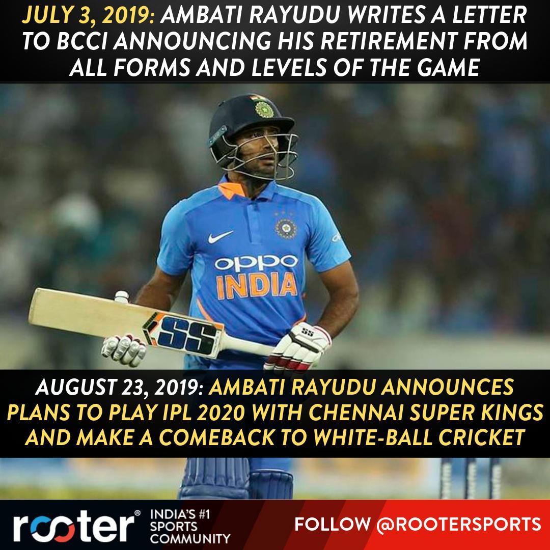 RT @RooterSports: Rayudu's quick U-Turn.  #AmbatiRayudu #TeamIndia #MSDhoni #ChennaiSuperKings #INDvWI https://t.co/CKwQHqbBPb