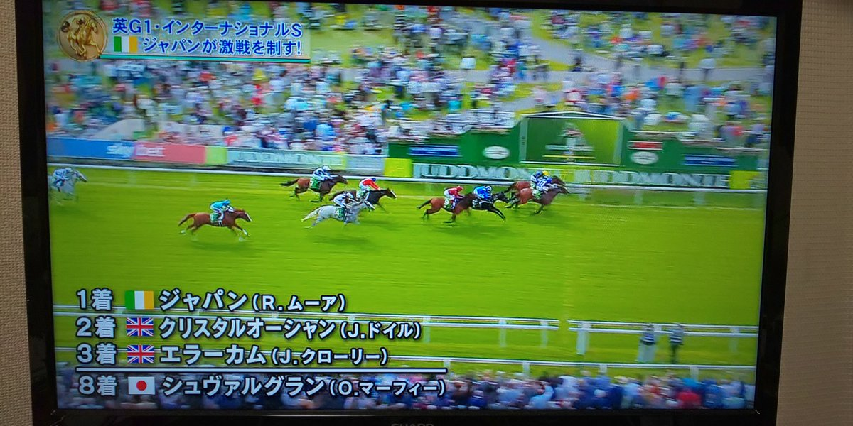 イギリスのG1大魔人佐々木氏のシュヴァルグラン8着残念!で勝ったのがアイルランド馬の名前がジャパン…まあシュヴァルは負けたが結果日本が勝ちって事?