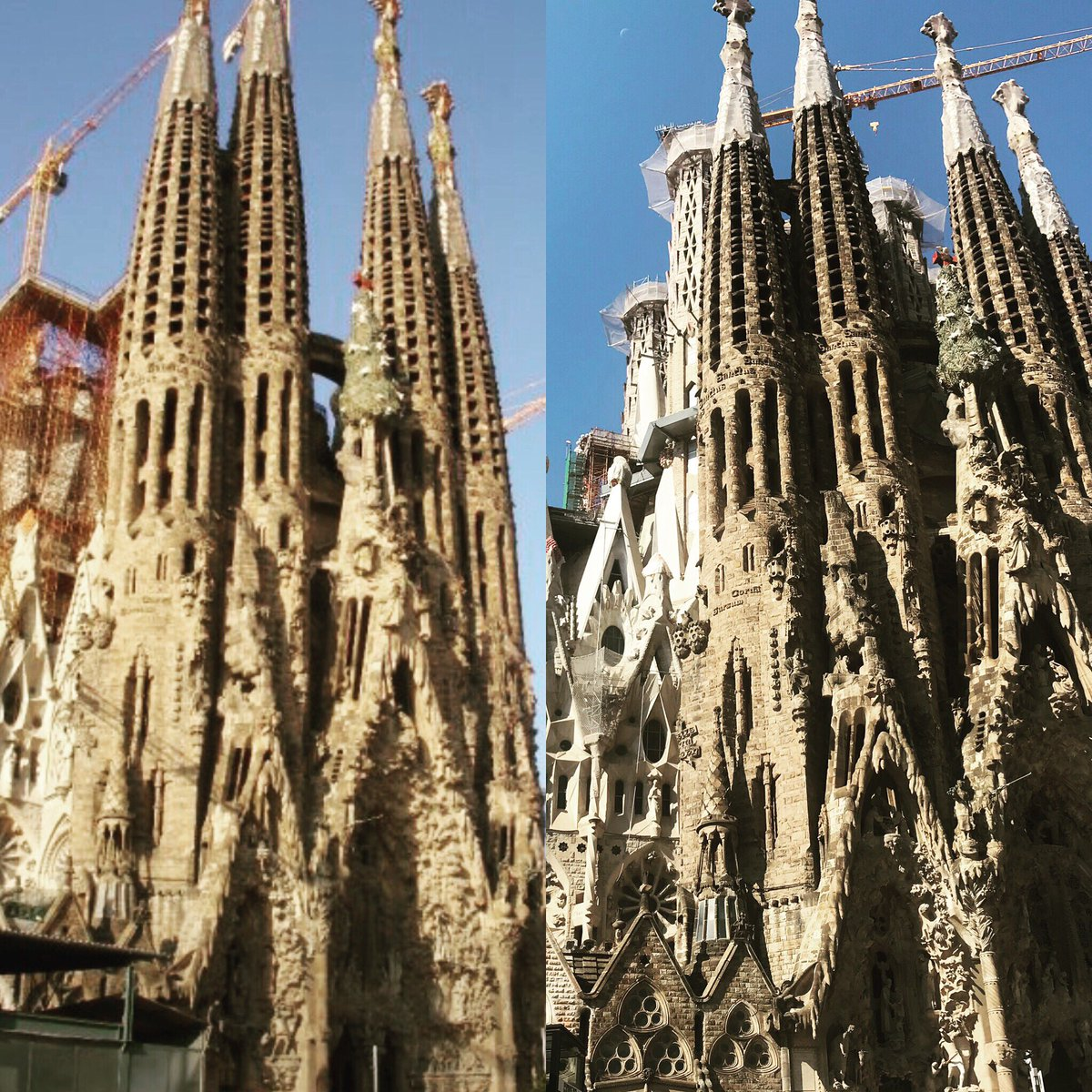 I'm in Barcelona at la sagrada familia. These photos are taken 10 years apart. 2009 to today. It's so breathtaking. Can't wait to see it finished. #lasagradafamilia #barcelona https://t.co/1GsQBh8onF