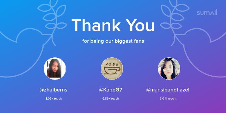 Our biggest fans this week: zhaiberns, KapeG7, mansibanghazel. Thank you! via sumall.com/thankyou?utm_s…