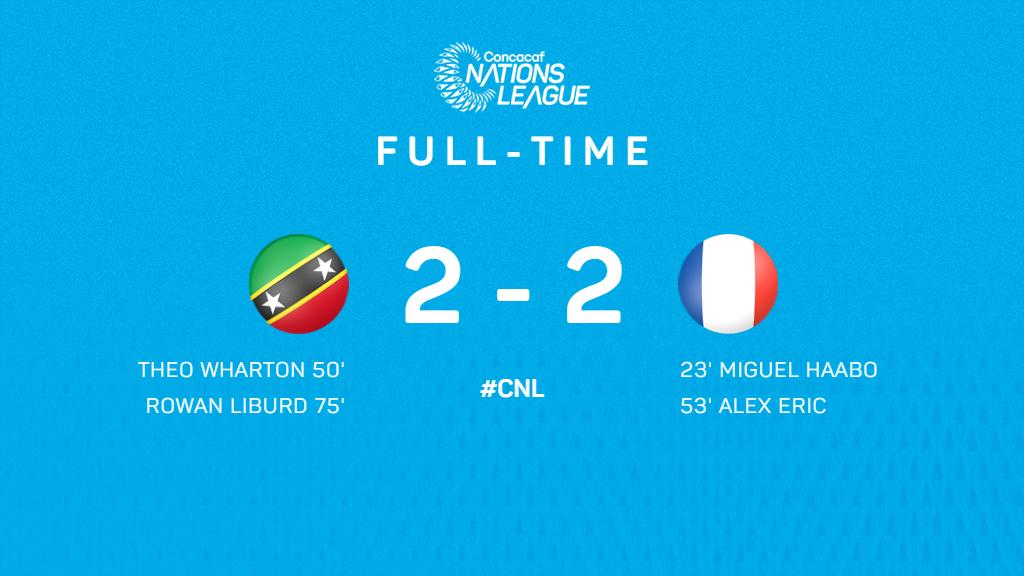 .@SKNFA_ 🇰🇳 and 🇫🇷 @LfgFootGuyane played a very even match that ended in a 2-2 draw   #CNL #FollowTheDream https://t.co/uXACEs3G4V