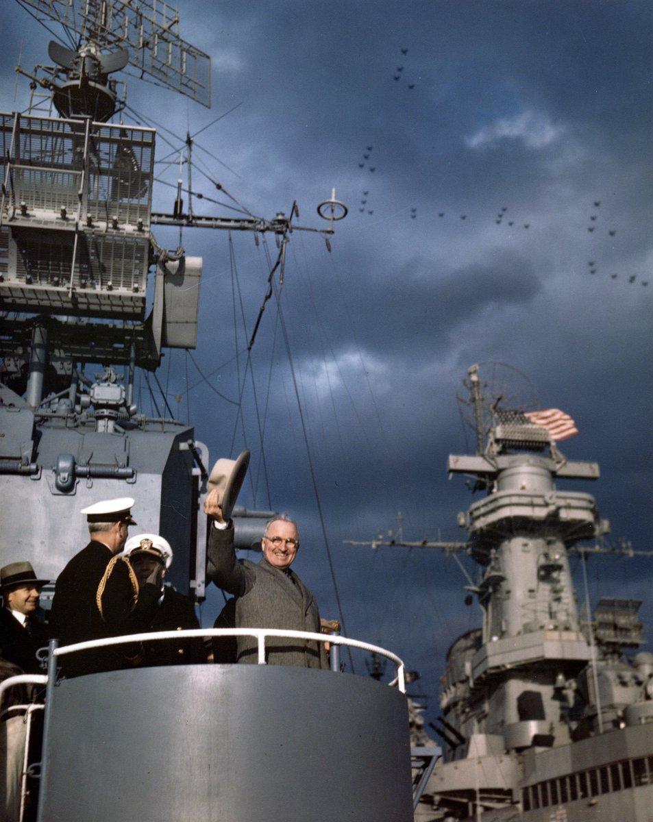 Truman appears at Navy Day Fleet Review, New York Harbor, October 1945:     #USNavy