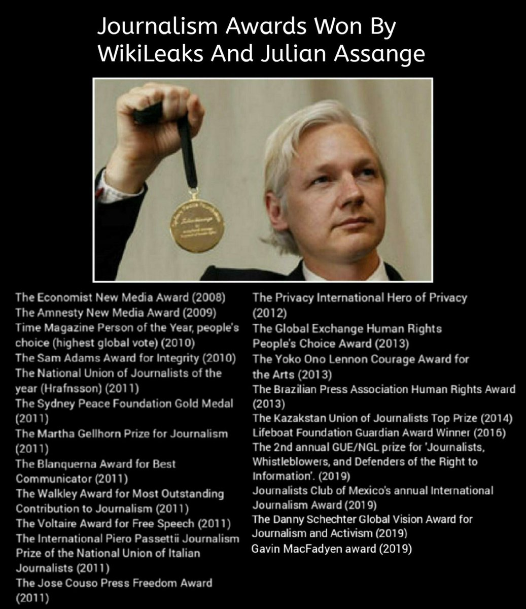Most complete list of Journalistic Awards won by #Wikileaks and #JulianAssange <br>http://pic.twitter.com/Nu78wsmiOP